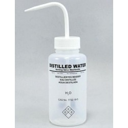 Wash Bottle-BRAND-500mL, with curved straw, valve and Chemical Name: Distilled Water-White-pkt/5