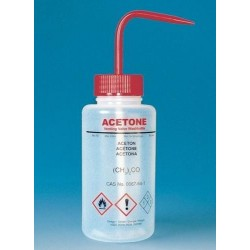 BRAND 500mL Wash Bottle with curved straw & self venting with metal ball valve: Chemical Name: Acetone Red pkt/5