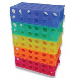 Labco 4 Sided Tube Racks.  Holds 4x50 mL, 12x15 mL, 32x0.5 mL,1.5 mL or 2.0 mL tubes-pkt/5 Assorted colours