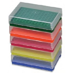 Labco 96 well x 0.2ml storage/setup rack, holds strip tubes or single 0.2ml tubes, includes lids-pkt/5 Assorted colours