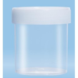 250mL-Sarstedt-containers, flat bottom, with label, 78Hx44D, neutral cap, HD-PE, GRAD TO 200Ml-pkt/240