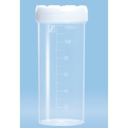 120mL-Sarstedt-container, HD-PE, graduated,105x44mm, neutral screw cap, HD-PE with flat bottom base-pkt/250