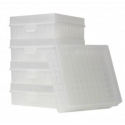 Bioline Plastic Cryo boxes 2 Inch high with a 100 cell grid and Hinged lid, Natural-(each)