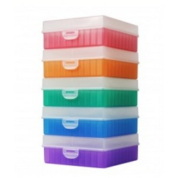 Bioline Plastic Cryo boxes 2 Inch high with a 100 cell grid and Hinged lid, Assorted Colours-pkt/5