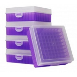 Bioline Plastic Cryo boxes 2 Inch high with a 100 cell grid and Hinged lid, Lilac-(each)