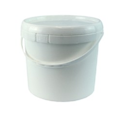 Bucket, 5L, white plastic with plastic handle and lid