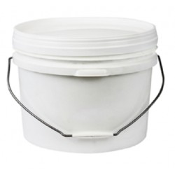 Bucket, 10L, white plastic, with metal/plastic handle and lid