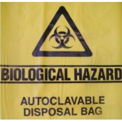 Sterihealth-Autoclave bag, 75 cmx86 cm with biological hazard label, yellow, 50 µm-200/ctn