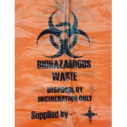 Sterihealth-Incineration waste bags, 65L Orange, 55 µm, Roll-200/ctn