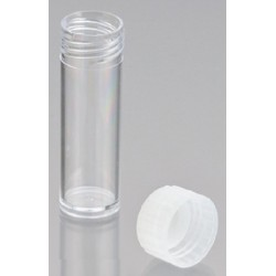 5mL-Technoplas-Polycarbonate flat bottom tube, seperate natural PP screw cap, 50mmHx16mmW, autoclavable, ctn/2,000