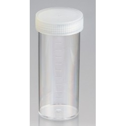 120mL-Technoplas-Polycarbonate flat bottom container, natural PP screw cap attached, 108mmHx44mmW, autoclavable, ctn/264