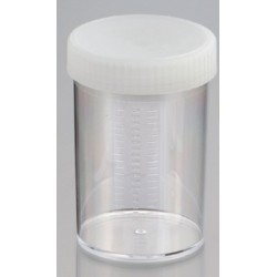 250mL-Technoplas-Polycarbonate flat bottom container, natural PP screw cap attached, 100mmHx65mmW, autoclavable, ctn/147
