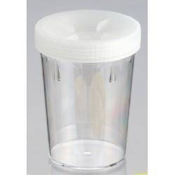 500mL-Technoplas-Polycarbonate flat bottom container, natural PP screw cap unattached, 125mmHx90mmW, autoclavable, ctn/126