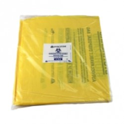 Autoclave bags, plastic, 27 X 63 cm, 50µm thick, yellow with biological hazard  label, pkt/500