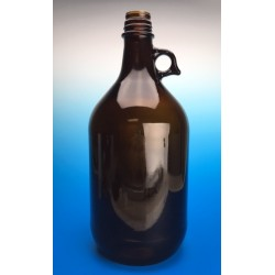 Finneran 2.5 L Amber Winchester Bottle with handle, 38-430mm Thread, Black Phenolic cap, PTFE/F217 Lined, case/6