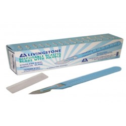 Livingstone Disposable Scalpel, Stainless Steel Blade Size 20 Attached to Handle, Sterile, 10 per Box