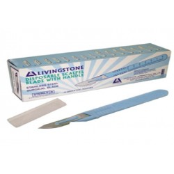 Livingstone Disposable Scalpel, Stainless Steel Blade Size 24 Attached to Handle, Sterile, 10 per Box