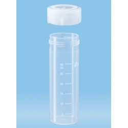 40mL-Sarstedt-containers, polypropylene, graduated, 85x28.5mm, flat bottom base, neutral screw cap (PP) included, ctn/450