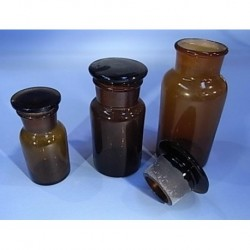 Bottle, Reagent , Amber, Glass,1000ml, wide mouth, with glass stopper