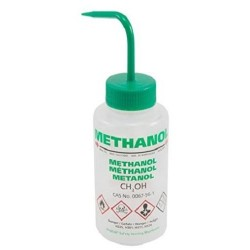BRAND 500mL Wash Bottle with curved straw & self venting with metal ball valve: Name: Methanol Green pkt/5