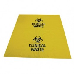 Clinical waste bags, 27L, 60 x 50cm, 30 micron thick, yellow with label, 50/ctn