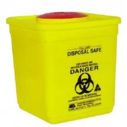 5L Sharps, disposable bin, square, yellow