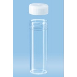 30mL-Sarstedt-Tubes with flat base, 80x27mm, polycarbonate, clear, autoclavable, white cap enclosed-pkt/500