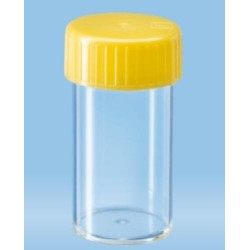 30mL- Sarstedt-Tubes with flat base, 80x27mm, polycarbonate, clear, autoclavable, yellow cap assembled-pkt/500