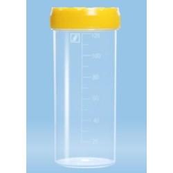 120mL-Sarstedt-container, HD-PE/PP, graduated,105x44mm, yellow screw cap attached, sterile, flat  base, pkt/250