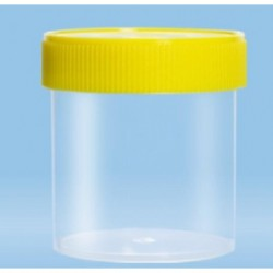 250mL-Sarstedt-containers, flat bottom, with label, 78Hx44D, neutral cap, HD-PE, grad to 200mL, sterile-pkt/240