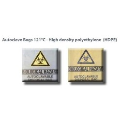 Autoclave bag, 46x22x20 cm with biological hazard label, yellow with gusseted fold -500/ctn