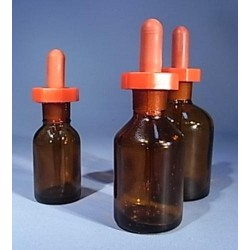 30mL Dropping bottle, glass, amber, with poly stopper
