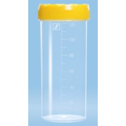 120mL-Sarstedt-Container, polyprop,grad,105x44mm, yellow assembled screw cap lid, flat bottom, sterile, label-pkt/250