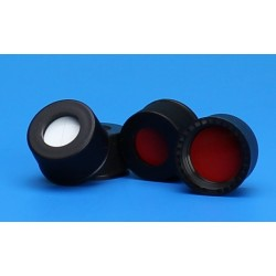 "Grace/Finneran-13-425mm Black Open Hole Polypropylene Closure, Red PTFE/Silicone Septa, 0.065""-pkt/100"