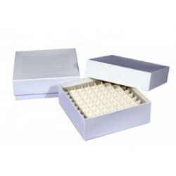 Cardboard Cryo boxes 3 Inch high with a 100 cell grid-pkt/5