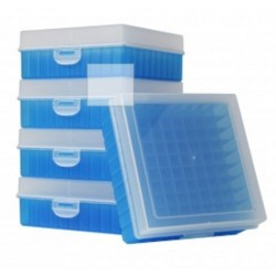 Bioline Plastic Cryo boxes 2 Inch high with a 100 cell grid and Hinged lid, Blue-(each)