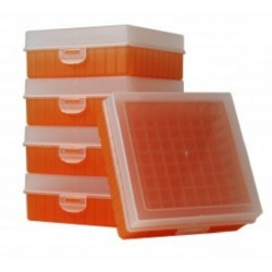 Bioline Plastic Cryo boxes 2 Inch high with a 100 cell grid and Hinged lid, Orange-(each)