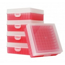 Bioline Plastic Cryo boxes 2 Inch high with a 100 cell grid and Hinged lid, Red-(each)