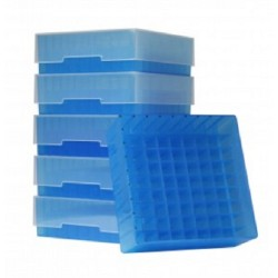 Bioline Plastic Cryo boxes 2 Inch high with a 81 cell grid and lift off lid, Blue-(each)