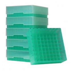 Bioline Plastic Cryo boxes 2 Inch high with a 81 cell grid and Lift off lid, Green-(each)