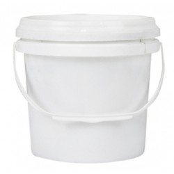 Bucket, 2L, white plastic with plastic handle and lid