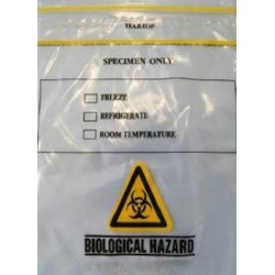 Specimen Transit Bags Clear, 3 layer, printed, 220 x 165mm pocket, press top/tear top Thickness: 40µm, ctn/2000