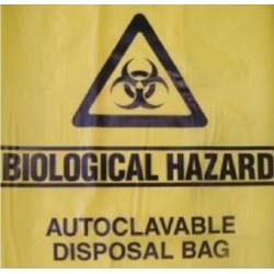 Sterihealth-Autoclave bag, 75 cmx86 cm with biological hazard label, yellow, 50 µm-200/ctn