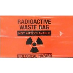 Sterihealth-Radioactive waste bag, red, 51X91 cm, 65 µm, with  label-200/ctn