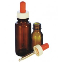 Dropping Bottle Glass 50mL with screw cap dropper, Amber, Kit, each