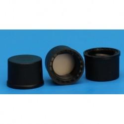 Finneran-10-425mm Solid Top, Black Polypropylene Cap, PTFE/F217 Lined  (equivalent to AL98124)-pkt/100