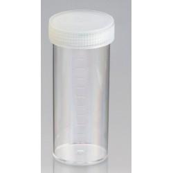 120mL-Technoplas-Polycarbonate flat bottom container, natural PP screw cap attached, 108mmHx44mmW, autoclavable, ctn/264