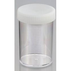 250mL-Technoplas-Polycarbonate flat bottom container, natural PP screw cap attached, 100mmHx65mmW, autoclavable, ctn/147