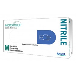 Ansell Micro-Touch® Blue Nitrile Powder and Latex Free Gloves, resistant to chemotherapy drugs, medium,  box/200