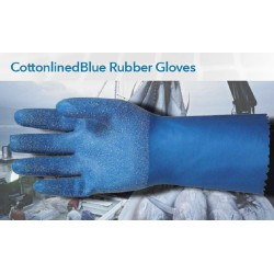 Bastion Cotton lined Blue Rubber Gloves